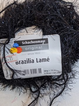 SMC Brazilia Lame Yarn, Aran Weight, Black/Silver 50g