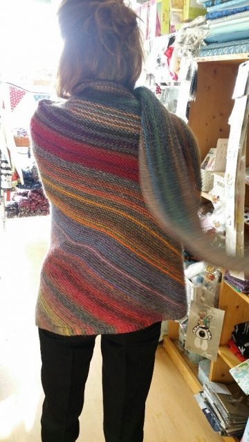 Large Knitted Shawl in Self Striping Adriafil Wool (Kit Pack)