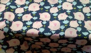 Hilarious Pink Pigs + Flowers on Blue Fat Quarter