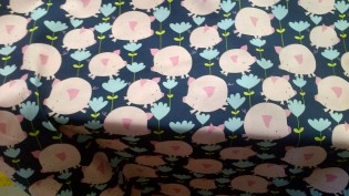 Hilarious Pink Pigs + Flowers on Blue Quilt Fabric