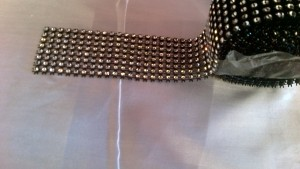 Black Diamante Decorative Bling half metre