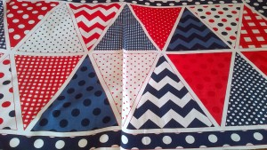 Red, White & Blue Bunting Panel, Pure Cotton