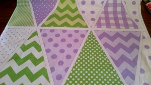 Lilac + Green Bunting Panel, Pure Cotton