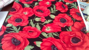 Glorious Huge Red Poppies on Black Fabric, Pure Cotton