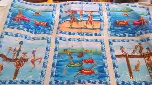 Surfer Dudes Beach Scenes Cotton Fabric