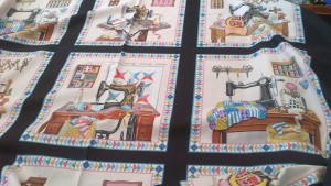 Vintage Style Sewing Machine Theme Fabric, Third Yard