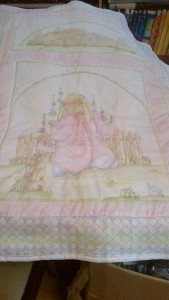 Beautiful Baby Quilt, Rabbits + Lavender, Pure Cotton
