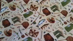 'Gone Fishing' Angler Cotton Fabric
