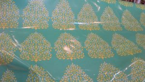 "Laminated Cotton 'Henna Trees' Rowan 54"" W"