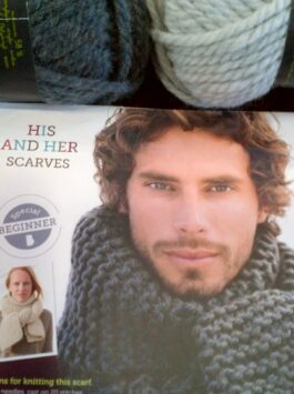 Beginners Knitting His & Hers Chunky Scarf Kit, Dark Grey