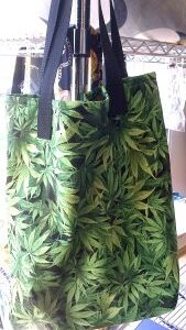 Large Tote Bag, Cannabis Green Fabric, 100% Cotton