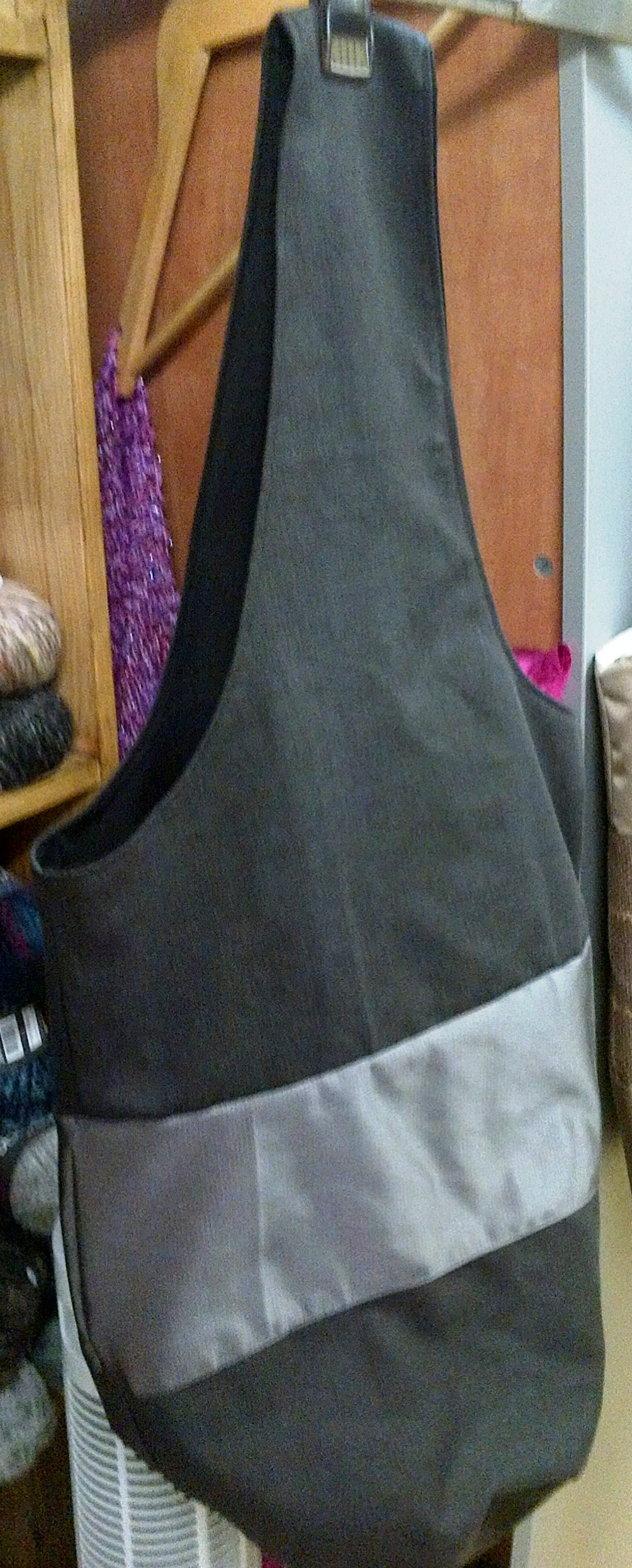 Boho Tote/Slouch Bag Hand Made XL Single Strap, Charcoal Gray, Lined