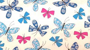 'Chasing Butterflies' Quilt Cotton Fabric Blue/White by Michael Miller