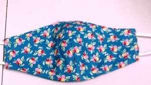 Pure Cotton Muslin Lined Face Masks Funky Fabrics, Teal Floral